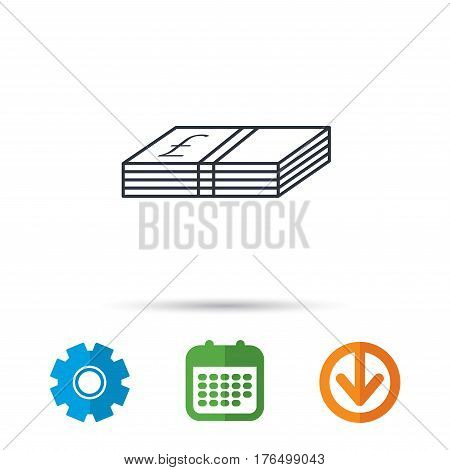 Cash icon. Pound money sign. GBP currency symbol. Calendar, cogwheel and download arrow signs. Colored flat web icons. Vector