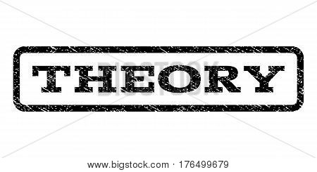 Theory watermark stamp. Text caption inside rounded rectangle with grunge design style. Rubber seal stamp with scratched texture. Vector black ink imprint on a white background.