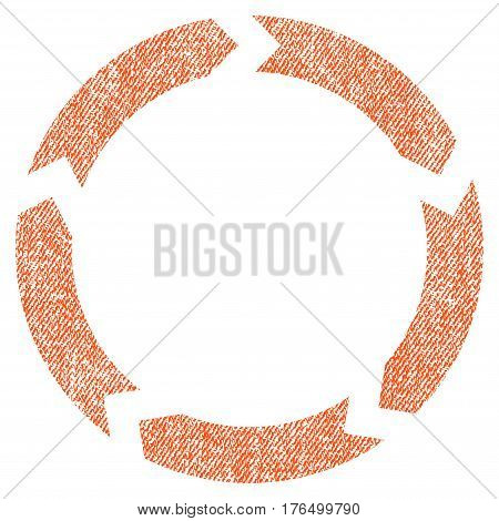 Circulation vector textured icon for overlay watermark stamps. Fabric orange vectorized texture. Symbol with scratched design. Rubber seal stamp with fiber textile structure.