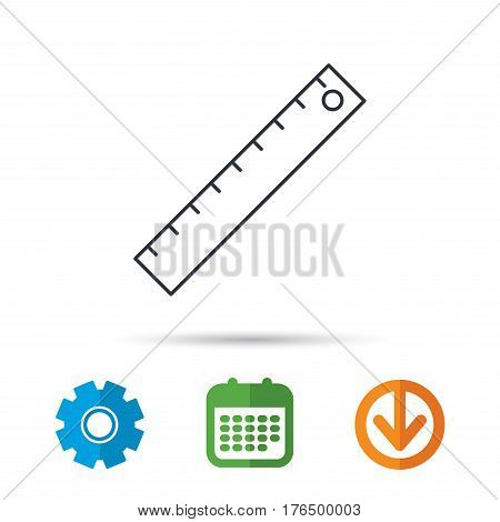 Ruler icon. Straightedge sign. Geometric symbol. Calendar, cogwheel and download arrow signs. Colored flat web icons. Vector