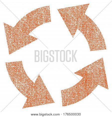 Circulation vector textured icon for overlay watermark stamps. Fabric orange vectorized texture. Symbol with dust design. Rubber seal stamp with fiber textile structure.