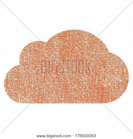 Cloud vector textured icon for overlay watermark stamps. Fabric orange vectorized texture. Symbol with dirty design. Rubber seal stamp with fiber textile structure.