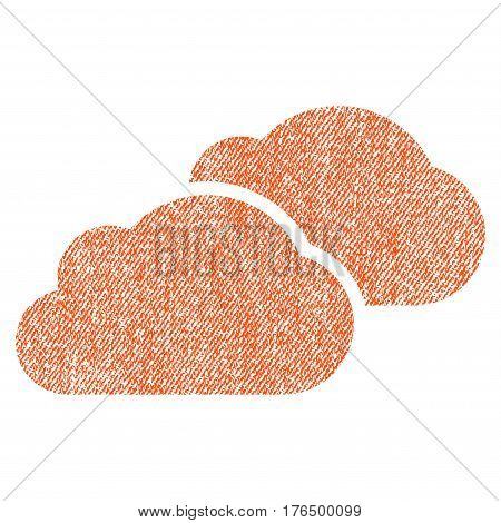 Clouds vector textured icon for overlay watermark stamps. Fabric orange vectorized texture. Symbol with dirty design. Rubber seal stamp with fiber textile structure.