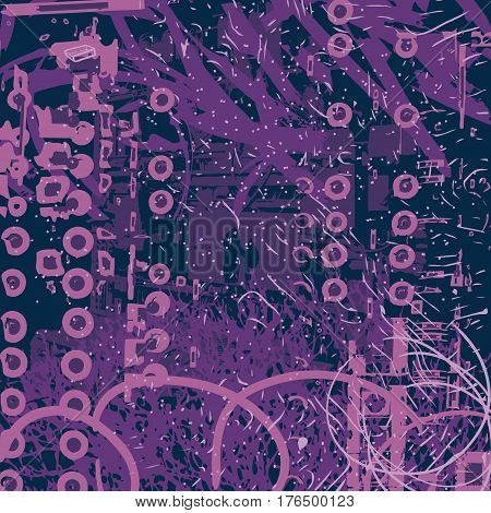violet artistic neo-grunge style abstract backgrounds made with hand drawn textures and brushes