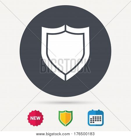 Shield protection icon. Defense equipment symbol. Calendar, shield protection and new tag signs. Colored flat web icons. Vector