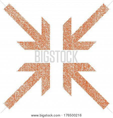 Collide Arrows vector textured icon for overlay watermark stamps. Fabric orange vectorized texture. Symbol with dirty design. Rubber seal stamp with fiber textile structure.