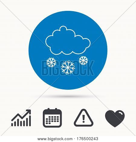 Snow icon. Snowflakes with cloud sign. Snowy overcast symbol. Calendar, attention sign and growth chart. Button with web icon. Vector