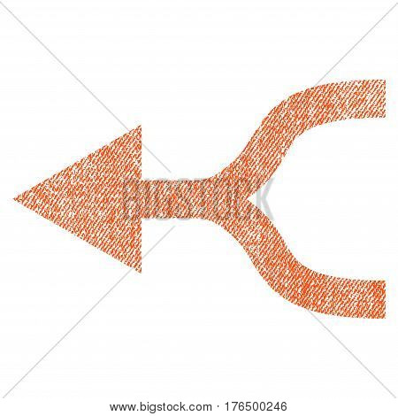 Combine Arrow Left vector textured icon for overlay watermark stamps. Fabric orange vectorized texture. Symbol with scratched design. Rubber seal stamp with fiber textile structure.