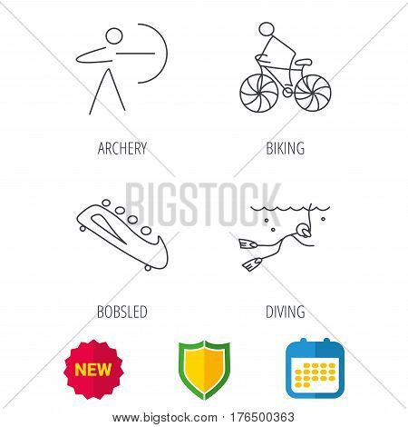 Diving, biking and archery icons. Bobsled linear sign. Shield protection, calendar and new tag web icons. Vector