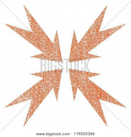 Compression Arrows vector textured icon for overlay watermark stamps. Fabric orange vectorized texture. Symbol with dust design. Rubber seal stamp with fiber textile structure.