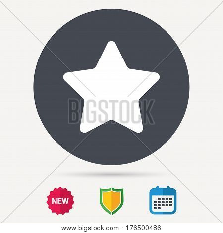 Star icon. Favorite or best sign. Web ranking symbol. Calendar, shield protection and new tag signs. Colored flat web icons. Vector