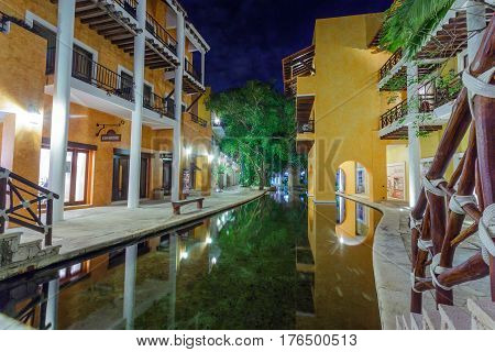 View on hotel at night, Cancun, Mexico