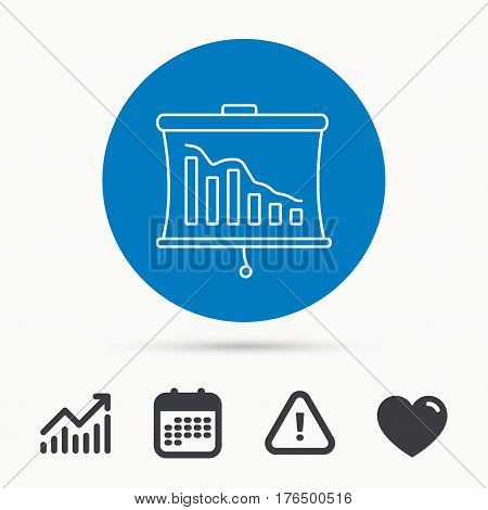 Statistic icon. Presentation board sign. Defaulted chart symbol. Calendar, attention sign and growth chart. Button with web icon. Vector