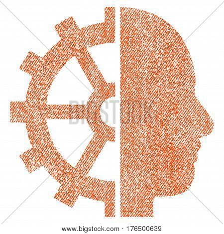 Cyborg Gear vector textured icon for overlay watermark stamps. Fabric orange vectorized texture. Symbol with unclean design. Rubber seal stamp with fiber textile structure.