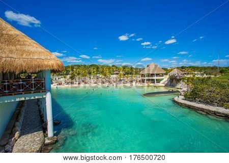 Tropical beach in caribbean sea, Cancun, Mexico