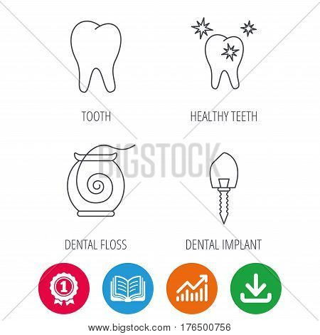 Tooth, healthy teeth and dental implant icons. Dental floss linear sign. Award medal, growth chart and opened book web icons. Download arrow. Vector