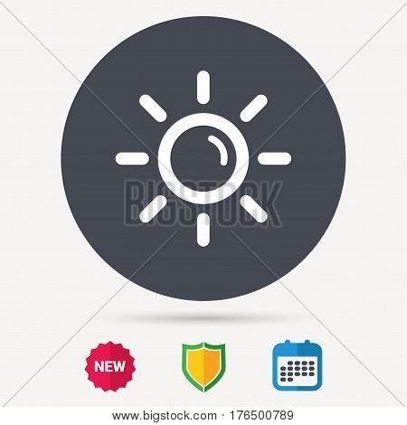 Sun icon. Sunny weather symbol. Calendar, shield protection and new tag signs. Colored flat web icons. Vector