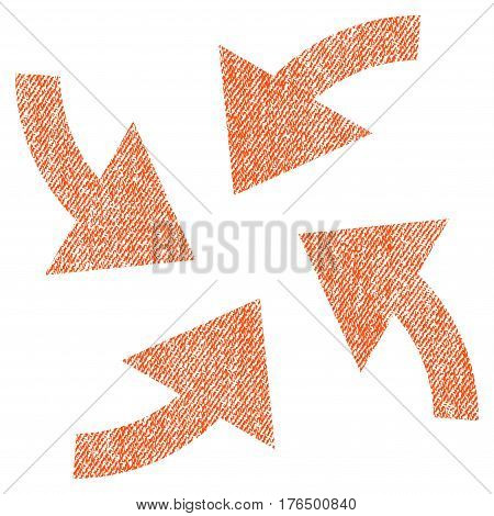 Cyclone Arrows vector textured icon for overlay watermark stamps. Fabric orange vectorized texture. Symbol with unclean design. Rubber seal stamp with fiber textile structure.