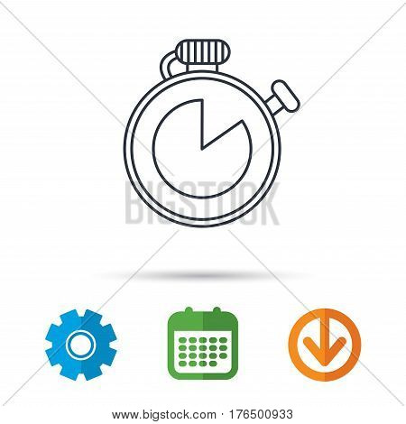 Timer icon. Stopwatch sign. Sport competition symbol. Calendar, cogwheel and download arrow signs. Colored flat web icons. Vector