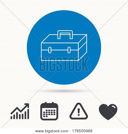 Toolbox icon. Repair instruments sign. Calendar, attention sign and growth chart. Button with web icon. Vector