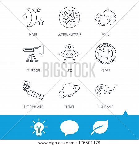 Ufo, planet and telescope icons. World, global network and night linear signs. TNT dynamite, fire flame and wind flat line icons. Light bulb, speech bubble and leaf web icons. Vector