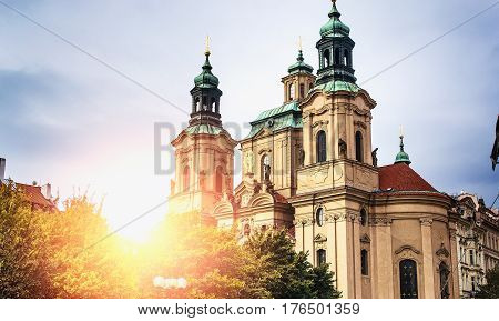 Tyn church. Prague architecture. The old Town . Gothic architecture.