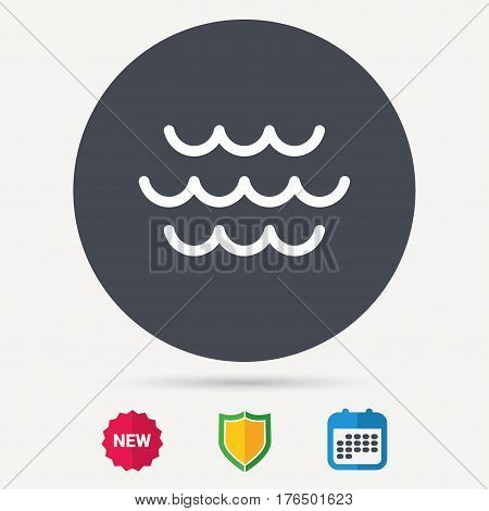 Wave icon. Water stream symbol. Calendar, shield protection and new tag signs. Colored flat web icons. Vector