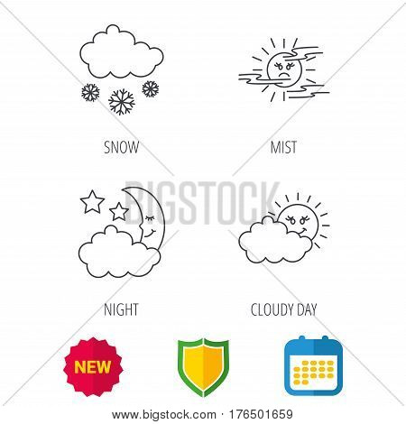 Weather, mist and snow icons. Moon night, clouds linear signs. Shield protection, calendar and new tag web icons. Vector