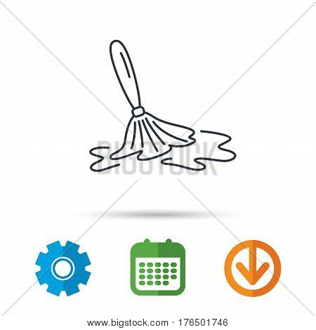 Wet cleaning icon. Clean-up floor tool sign. Calendar, cogwheel and download arrow signs. Colored flat web icons. Vector