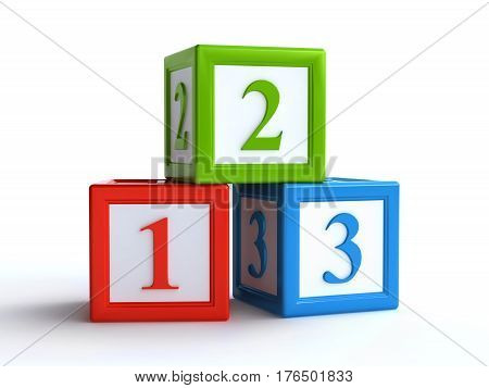 3d rendering of number toy blocks on white background