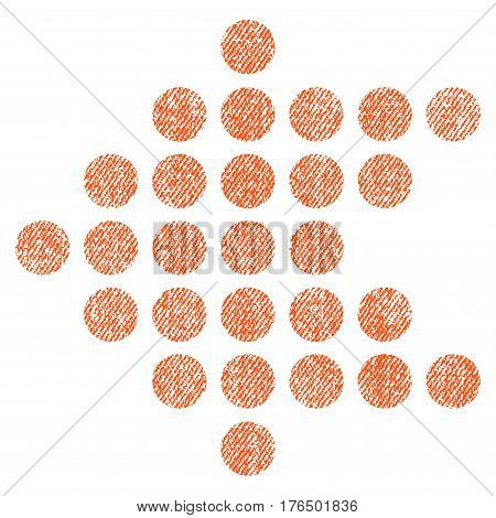 Dotted Arrow Left vector textured icon for overlay watermark stamps. Fabric orange vectorized texture. Symbol with dust design. Rubber seal stamp with fiber textile structure.