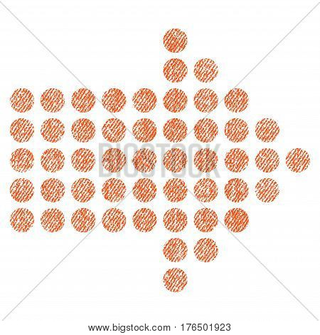 Dotted Arrow Right vector textured icon for overlay watermark stamps. Fabric orange vectorized texture. Symbol with scratched design. Rubber seal stamp with fiber textile structure.