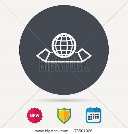 World map icon. Globe sign. Travel location symbol. Calendar, shield protection and new tag signs. Colored flat web icons. Vector