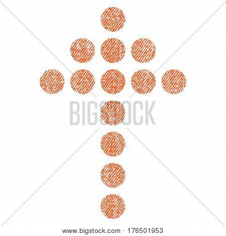 Dotted Arrow Up vector textured icon for overlay watermark stamps. Fabric orange vectorized texture. Symbol with unclean design. Rubber seal stamp with fiber textile structure.