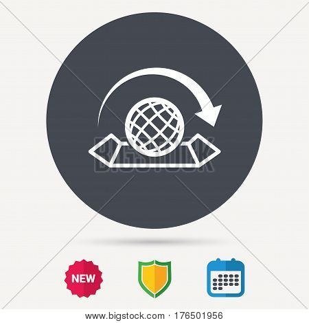 World map icon. Globe with arrow sign. Travel location symbol. Calendar, shield protection and new tag signs. Colored flat web icons. Vector