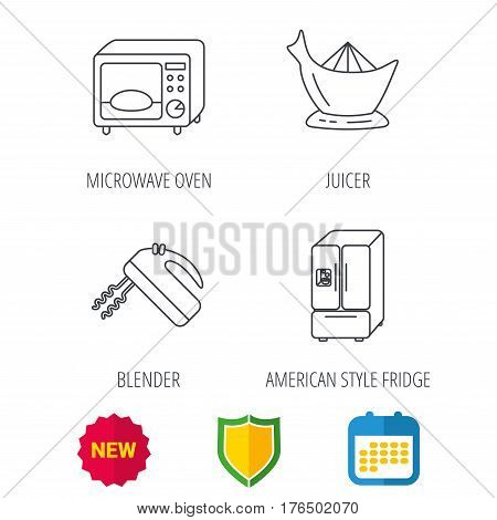 Microwave oven, American style fridge and blender icons. Juicer linear sign. Shield protection, calendar and new tag web icons. Vector