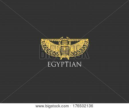 Egyptian logo with Scarab beetle symbol of ancient civilization vintage, engraved hand drawn in sketch or wood cut style, old looking retro insect.