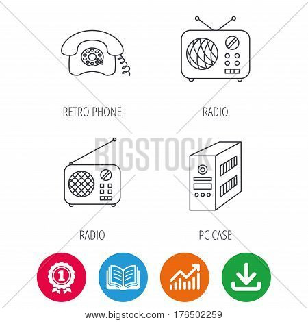 Radio, retro phone and pc case icons. Vintage radio linear sign. Award medal, growth chart and opened book web icons. Download arrow. Vector