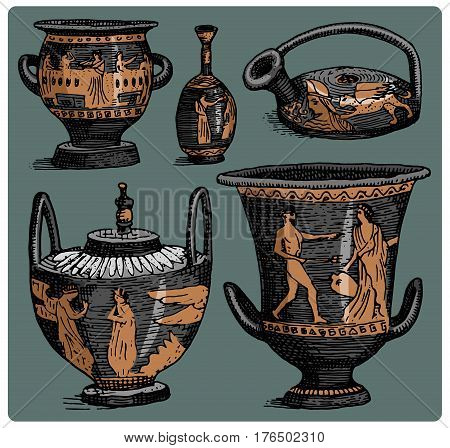 ancient Greece, antique amphora set, vase with life scenes vintage, engraved hand drawn in sketch or wood cut style, old looking retro.