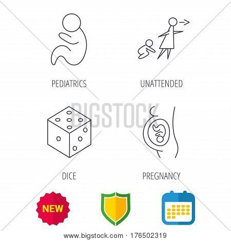 Pregnancy, paediatrics and dice icons. Unattended linear sign. Shield protection, calendar and new tag web icons. Vector