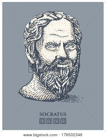 Portrait of Socrates. Ancient greek philosopher, scientist, and thinker vintage, engraved hand drawn in sketch or wood cut style, old looking retro.