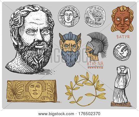 ancient Greece, antique symbols Socrates head, laurel wreath, athena statue and satyr face with coins vintage, engraved hand drawn in sketch or wood cut style, old looking retro,