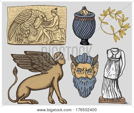 ancient Greece, antique symbols Ganymede and eagle anphora, vase, athena statue and satyr mask vintage, engraved hand drawn in sketch or wood cut style, old looking retro, isolated