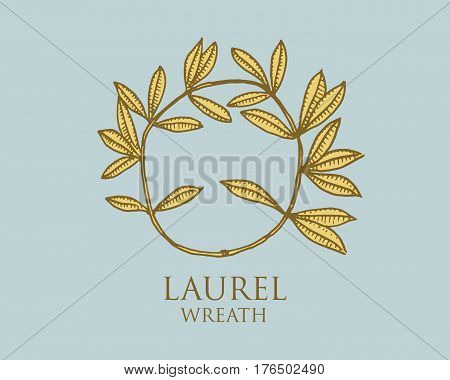 logo of ancient Greece, antique symbol laurel wreath vintage, engraved hand drawn in sketch or wood cut style, old looking retro.