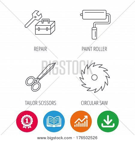 Scissors, paint roller and repair tools icons. Circular saw linear sign. Award medal, growth chart and opened book web icons. Download arrow. Vector