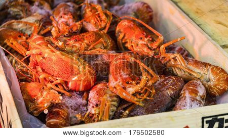 closeup boiled craw fish and shrimp and prawn for background uses