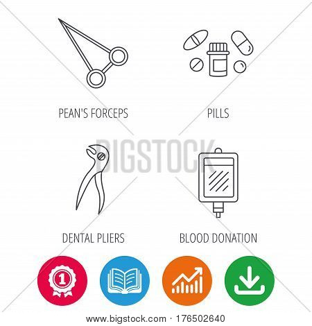 Medical pills, blood and dental pliers icons. Peans forceps linear sign. Award medal, growth chart and opened book web icons. Download arrow. Vector