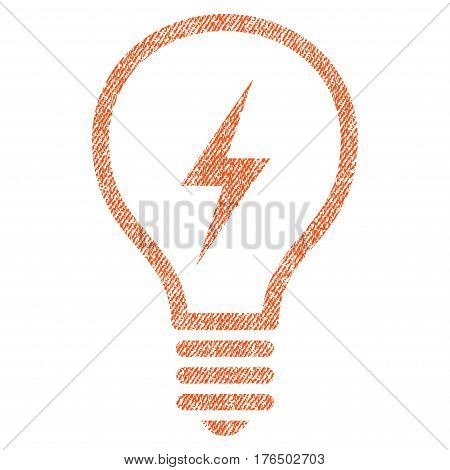 Electric Bulb vector textured icon for overlay watermark stamps. Fabric orange vectorized texture. Symbol with unclean design. Rubber seal stamp with fiber textile structure.