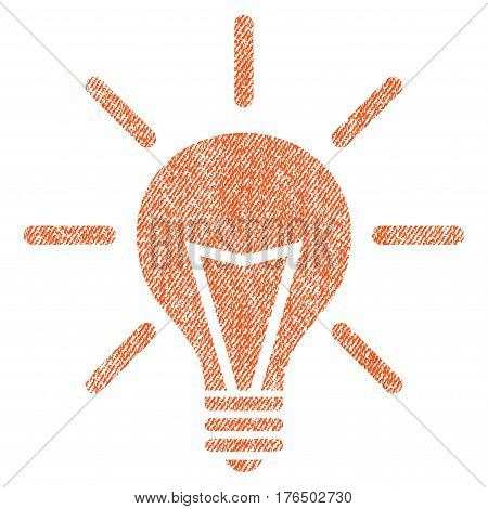 Electric Light vector textured icon for overlay watermark stamps. Fabric orange vectorized texture. Symbol with scratched design. Rubber seal stamp with fiber textile structure.