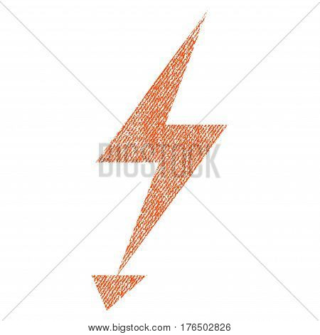 Electric Strike vector textured icon for overlay watermark stamps. Fabric orange vectorized texture. Symbol with dust design. Rubber seal stamp with fiber textile structure.